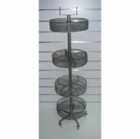 Стелаж 4 етажа сив кръгъл